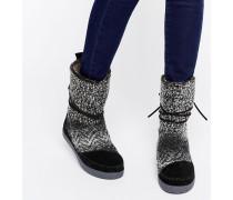 Nepal Stiefel in Schwarz und Weiß Schwarz
