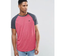 Schmales T-Shirt mit kontrastierenden Raglanärmeln, rosa Rosa