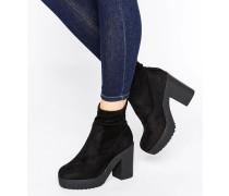 Stiefel mit klobiger Sohle Schwarz