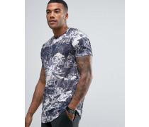 Lang geschnittenes T-Shirt mit Marmor-Print Schwarz