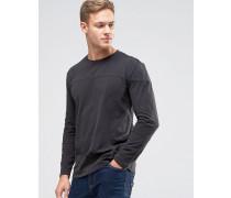 T-Shirt mit tief angesetzten Schultern und abgenähten Bahnen Schwarz