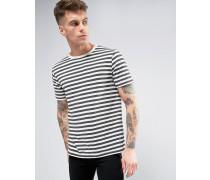 Brooklyn Supply Co T-Shirt mit Bretonenstreifen in Anthrazit Grau
