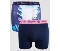 Unterhosen mit Palmen-Print im 2er-Set Marineblau
