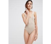 Badeanzug mit elastischen Einsätzen und Riemen an den Seiten Beige