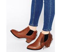 Ankle Boots mit Fransenbesatz Bronze