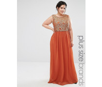 Plus Maxikleid mit Spitzenoberteil in Metallic Orange