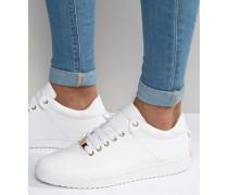 Weiße Sneakers mit Fersen-Schnürband und Goldakzenten Weiß