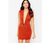 Figurbetontes Kleid mit tiefem Ausschnitt Rot