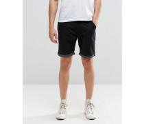 Chino-Shorts mit Punktemuster und Krempelsaum Schwarz