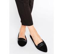 Spitze, flache Schuhe Schwarz