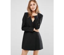BCBG MAXAZRIA Langärmliges Nadelstreifen-Kleid mit Jacke Schwarz