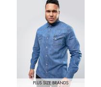 PLUS Westernhemd in mittlerer Waschung Blau