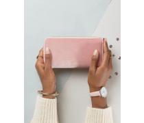 Geldbörse aus Samt mit Rundum-Reißverschluss Rosa