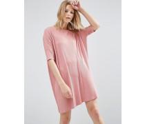 Geripptes T-Shirt-Kleid Rosa