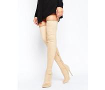 KAMBER Overknee-Stiefel aus elastischem Material Beige