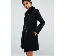 Ausgestellter Mantel mit Kunstpelzkragen Schwarz