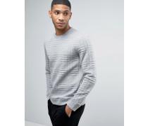 Texturierter Pullover mit Karomuster Grau