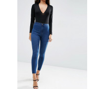 Rivington Hoch geschnittene Jeans-Jeggings in verwaschenem Schwarz Blau