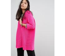 Oversize-Pullover mit tiefem V-Ausschnitt Rosa