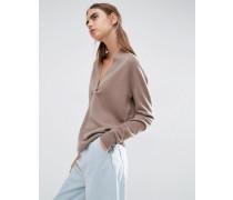 Pullover mit tiefem V-Ausschnitt aus 100% Kaschmir Braun