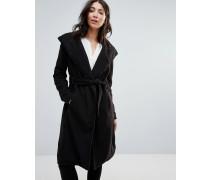 Langer Mantel mit Gürtel Schwarz