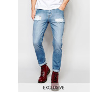 Brooklyn Supply Co Gerade geschnittene Jeans in extremem Used-Look und heller Stone-Waschung Blau