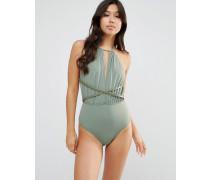 Tief ausgeschnittener Badeanzug mit Kunstlederbesatz Grün
