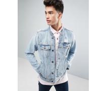 Jeansjacke mit Henley-Kragen und heller Used-Waschung Blau