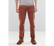 Schmale Stretch-Jeans in Rostrot Braun