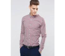 Eng geschnittenes langärmeliges Hemd mit 2-farbigem Karomuster Rot