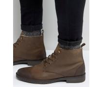 Stiefel aus braunem Leder mit Futter aus Lammfellimitat Braun