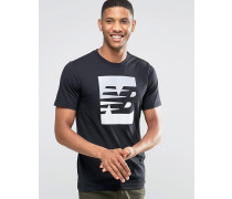 MT63514_BK Schwarzes T-Shirt mit Logo Schwarz