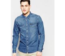 Schmal geschnittenes Western-Jeanshemd in mittelblauer Stance-Waschung Blau