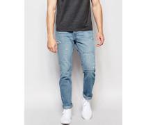 Enge Jeans mit Aufnähern Blau