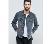 Anliegende Denim-Jacke in blauer Waschung Blau