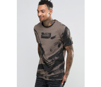 T-Shirt mit Pinselstrich-Design Beige