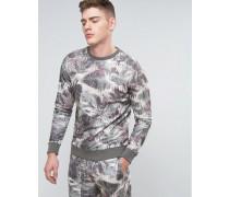 Brooklyn Supply Co Sweatshirt mit verwaschenem Palmenmotiv Marineblau