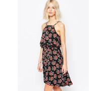 Sommerkleid mit Mohnblumendruck Schwarz