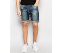 Dunkle Jeansshorts in Used-Optik Blau