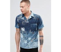 Nudie Brandon Kurzärmliges Hemd mit indigoblauem Seegrasprint Blau