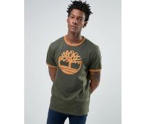 Ringer-T-Shirt in Grün mit Logo Grün