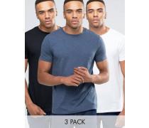T-Shirts mit Rundhalsausschnitt im 3er-Set, Weiß/Schwarz/Dunkles Demin meliert, RABATT Mehrfarbig