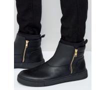 Knöchelhohe Sneakers in Schwarz mit Reißverschluss Schwarz