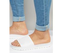 Schwarze Slider-Sandalen in weißer Schlangenhautoptik Weiß