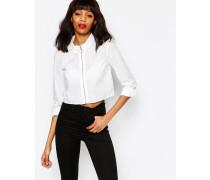 Kurzes Hemd mit Reißverschluss Weiß