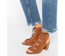 Sandalen mit Schnürung und Blockabsatz Bronze