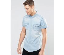 Kurzärmliges Jeanshemd in heller Waschung Blau