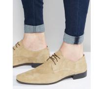 Derby-Schuhe aus steingrauem Wildleder Steingrau
