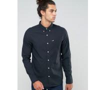 Schmales, schwarzes Oxford-Hemd mit Knopfleiste und Möwenlogo Schwarz