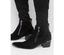 Sylvian Wildleder-Stiefel mit Reißverschluss Schwarz